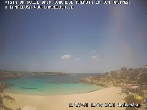 Webcam Lampedusa, Spiaggia della Guitgia - Hotel Baia Turchese