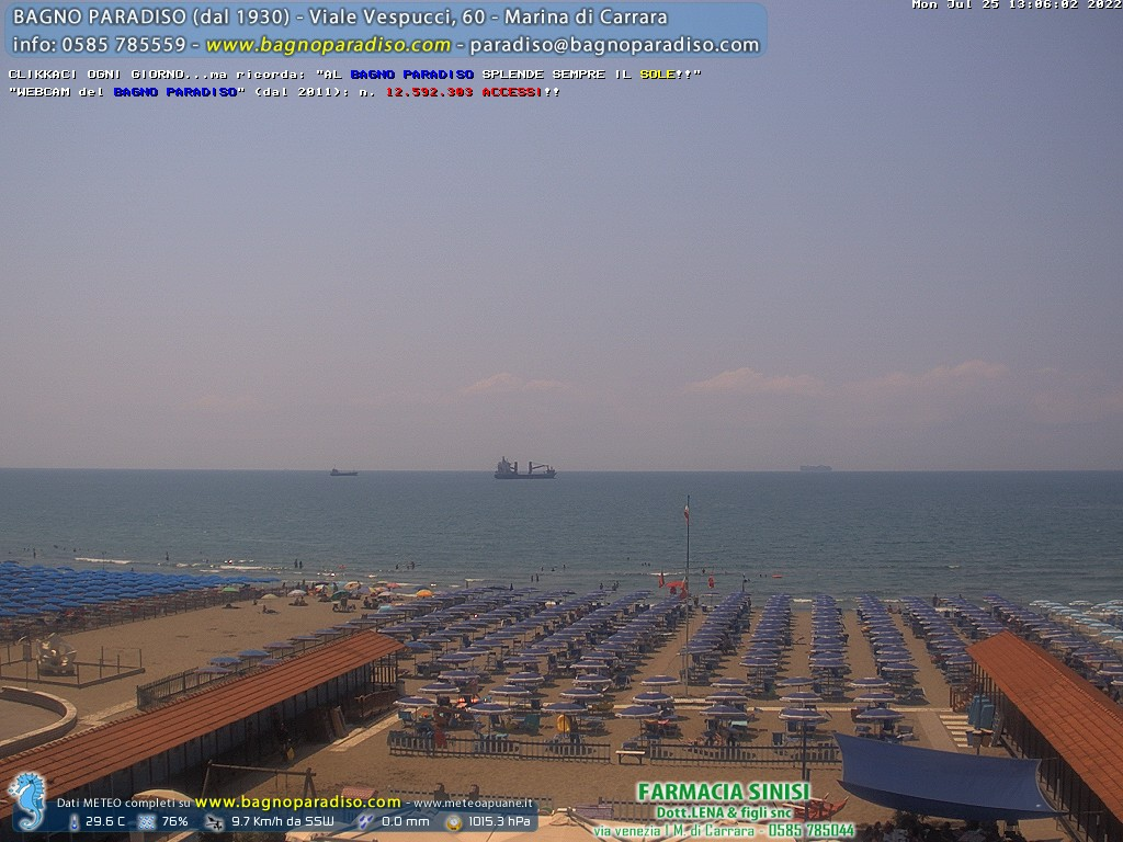 Webcam marina di carrara beach panorama - Bagno paradiso carrara ...